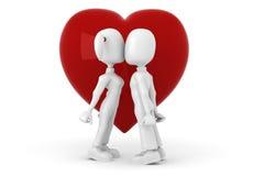 homme 3d avec un coeur rouge dans des mains de hes Image stock