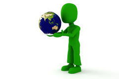 homme 3d avec un globe dans des mains de hes Photo stock