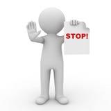 homme 3d effectuant le signe d'arrêt Images libres de droits