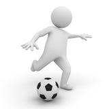 homme 3d jouant au football ou au football illustration de vecteur