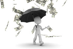 homme 3d - marchant sous la pluie d'argent Photographie stock libre de droits