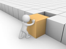 homme 3d poussant le cube 3d Photos libres de droits