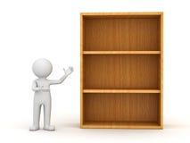 homme 3d restant et présent les étagères en bois Photo libre de droits