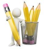 homme 3D se penchant sur le support de crayon Photographie stock