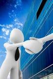 homme 3d se serrant la main devant un buildin de bureau Image libre de droits