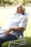 Homme aîné détendant en stationnement Photographie stock libre de droits