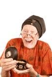 Homme aîné d'âge neuf avec la substance étrange Photo stock