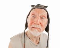 Homme aîné dans le capuchon de knit Photos libres de droits