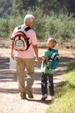 Homme aîné et fils marchant dans le pays Image stock