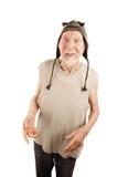 Homme aîné fol dans le capuchon de knit Photographie stock