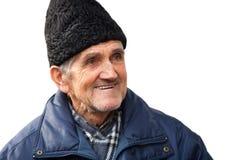Homme aîné heureux d'isolement sur le blanc Photo libre de droits