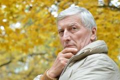 Homme aîné pensant Images stock