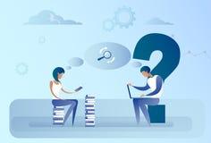 Homme abstrait et femme d'affaires s'asseyant sur le concept fonctionnant de l'information de recherche d'ordinateur portable de  Images stock