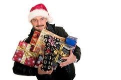 Homme, achats de Noël photo libre de droits