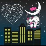 Homme affectueux et femme de couples s'asseyant sur la lune pendant la nuit Image stock