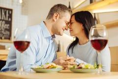 Homme affectueux et femme se caressant Image stock