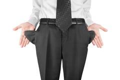 Homme affichant les poches vides Image stock