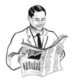 Homme affichant un papier illustration de vecteur