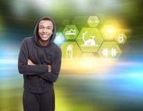 Homme africain et dessins hexagonaux de sport Photo stock