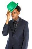 Homme afro-américain attirant d'affaires posant dans le studio Photos stock