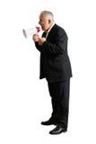 Homme agressif avec le mégaphone Image stock