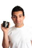 Homme annonçant la montre de chronographe Images stock