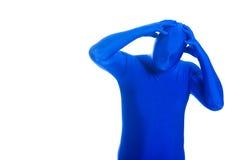 Homme anonyme et sans visage avec un mal de tête images libres de droits