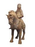 Homme antique sur la statue de cheval d'isolement. Photos stock