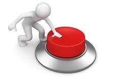 Homme appuyant sur le bouton rouge de secours Photos stock