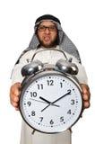 Homme arabe avec l'horloge d'isolement Photos libres de droits