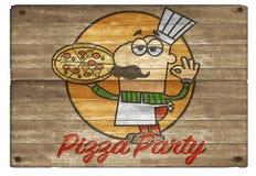 Homme Art Board Logo Invitation de bande dessinée de partie de pizza illustration libre de droits