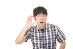 Homme asiatique étonné photographie stock libre de droits