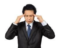 Homme asiatique d'affaires avec la posture d'effort au-dessus du blanc Image libre de droits
