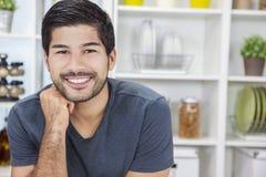 Homme asiatique de sourire bel avec la barbe Images stock