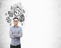 Homme asiatique et icônes brillantes de mâles Images stock