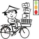 Homme asiatique sur le dessin animé de bicyclette Photo libre de droits