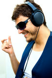 homme attirant d'écouteurs Images libres de droits
