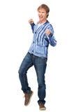 Homme attirant pompant ses poings dans l'excitation photos stock