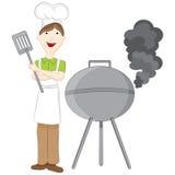 Homme au gril de barbecue illustration de vecteur