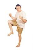 Homme aux pieds nus de danse des vacances Photographie stock