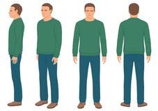 Homme, avant, dos et vue de côté illustration stock