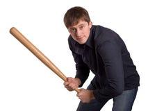 Homme avec 'bat' Image libre de droits