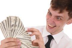 Homme avec de l'argent Images stock