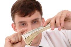 Homme avec de l'argent Image stock