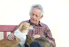 Homme avec des animaux familiers Photographie stock libre de droits