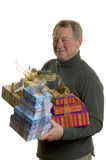 Homme avec des cadeaux photographie stock
