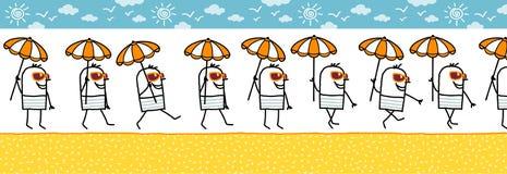 Homme avec des glaces de parasol et de soleil illustration stock