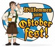 Homme avec des Lederhosen célébrant Oktoberfest avec un signe bavarois de salutation, illustration de vecteur illustration stock