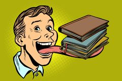 Homme avec des livres dans une languette longue illustration libre de droits