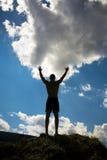 Homme avec des mains vers le haut photographie stock libre de droits